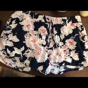 Navy and pink floral shorts